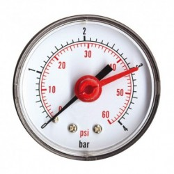 Manomètre sec axial 0 à 6 bars 63mm Mâle 8/13