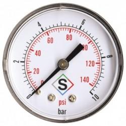 Manomètre sec axial 0 à 10 bars 63mm Mâle 8/13