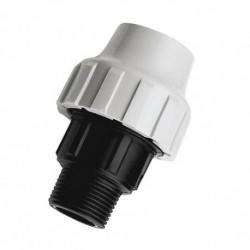 Raccord mâle plastique pour tube PE semi-rigide diamètre 50-40/49